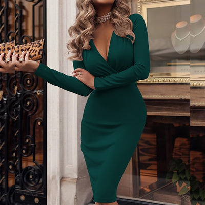 Sexy Deep V-Neck Party Wrap Dress Fold Overall Office Female Dress - Exclusive Inspirational Designs