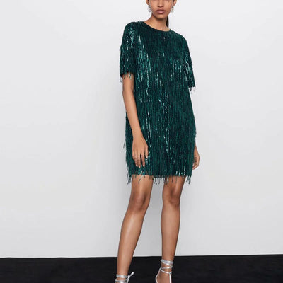 ZA women dress 2020 elegant fringed bright Chic lady green black streetwear sexy mini club party dress - Exclusive Inspirational Designs