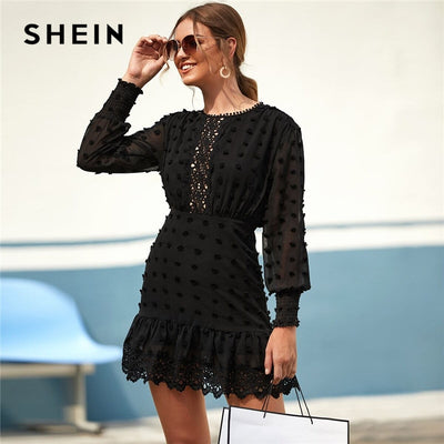 SHEIN Black Swiss Dot Guipure Lace Hem Fitted Chiffon Dress Women Spring High Waist Bishop Sleeve Elegant Shirred Short Dresses - Exclusive Inspirational Designs