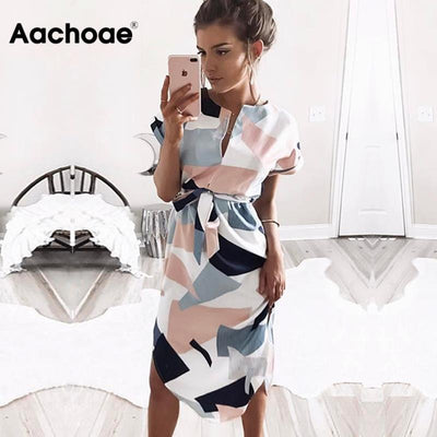 2020 Hot Sale Women Midi Party Dresses Geometric Print Summer Boho Beach Dress Loose Batwing Sleeve Dress Vestidos Plus Size - Exclusive Inspirational Designs