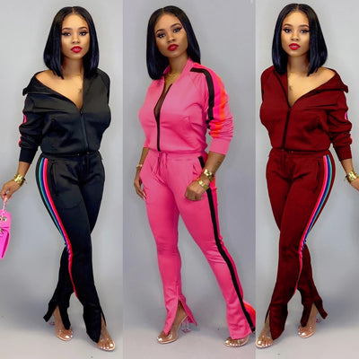 Tracksuit Striped Top Pants Casual Sweat Suit Sportswear Long Sleeve 2 Piece Set Plus Size Autumn - Exclusive Fashions
