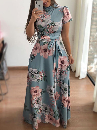 Women Summer Casual Short Sleeve Long Dress Boho Floral Print Sashes Dresses Vestidos Plus Size 5XL - Exclusive Fashions
