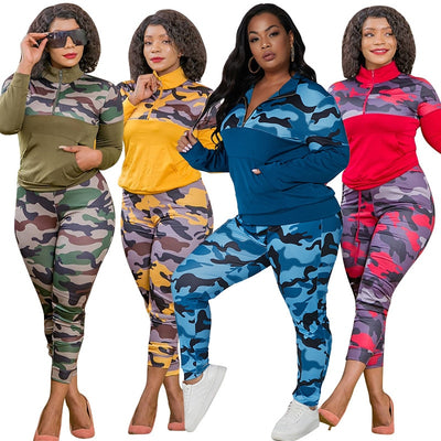 Sexy Piece Outfits for Women Camouflage Printed Stretch Casual Joggor Fitness Matching Set Wholesale Dropshipping - Exclusive Fashions