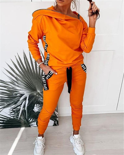 Women Casual Two-Piece Set Female Patchwork Zipper Design Set Outfits Sweatsuit - Exclusive Fashions