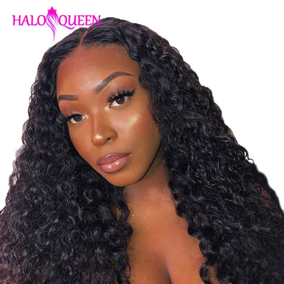 HALOQUEEN Kinky Curly Bundles with 13x4 Frontal Closure Brazilian Lace Frontal with Bundles Remy Human Hair Bundles With Closure - Exclusive Fashions