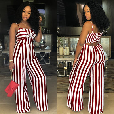 Sexy Suspender JUMPSUIT Wide Leg Casual Striped ROMPER Elegant WOMEN Strap Overalls Tank Bow Tie Sleeveless High Waist Plus Size - Exclusive Fashions