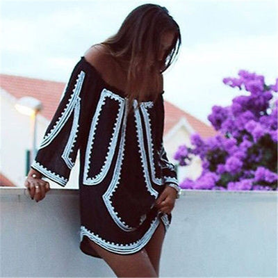 New Arrival Sexy Women Off Shoulder Slash Neck Dress Exotic Spliced print Half Sleeve Casual Beach Mini Dress loose Vestidos - Exclusive Inspirational Designs