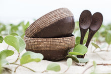 Load image into Gallery viewer, Coconut Bowl Set with Organic Wooden Spoons, Bamboo Straw and Natural Jute Pouch (Classic Pattern) - Shop NO Plastic