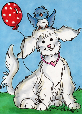 Dog with Polka Dot Balloon Greeting Card