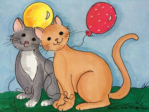 Cats with Balloons Greeting Card
