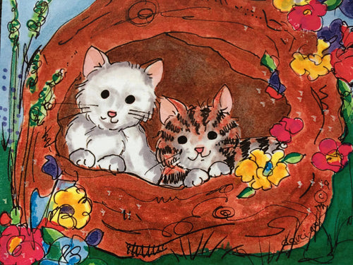 Cats in Basket Greeting Card