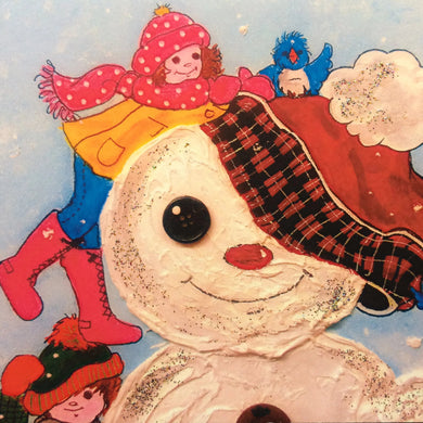 Girl Building a Snowman Greeting Card