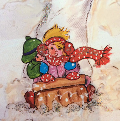 Girl with Sleigh Greeting Card