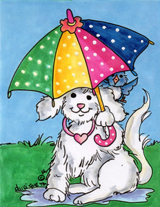Dog with Umbrella Greeting Card