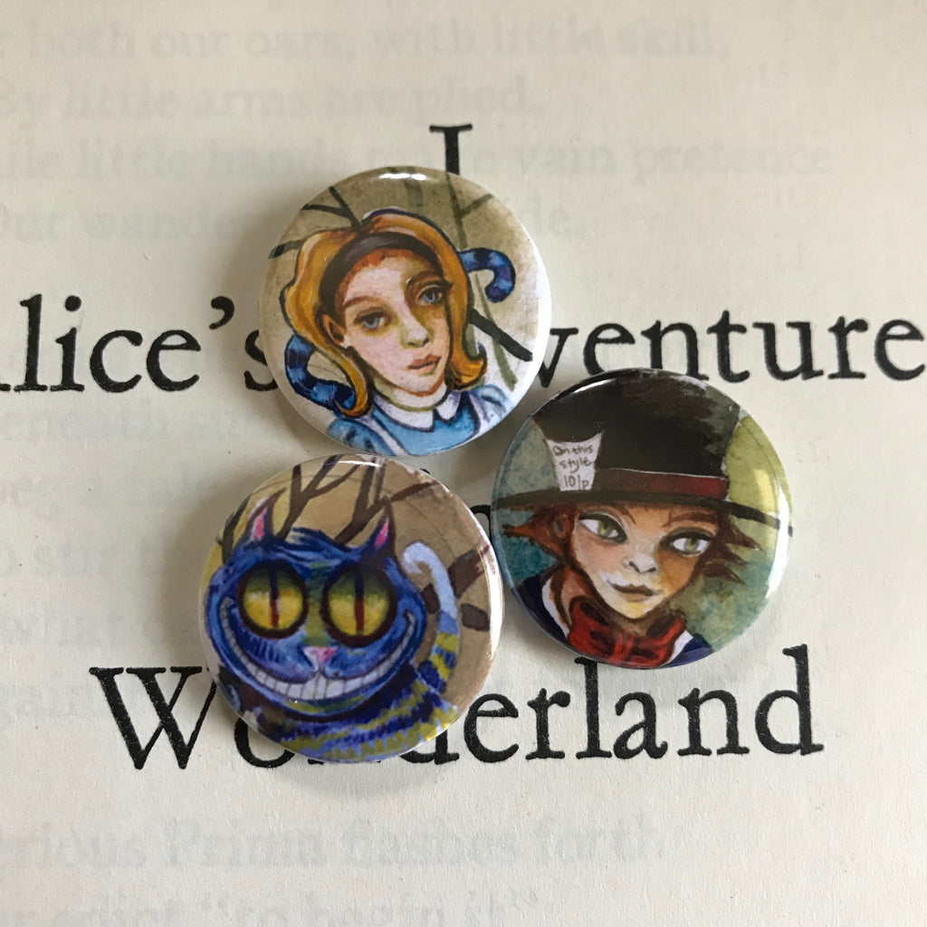Alice in Wonderland Button Art Pin