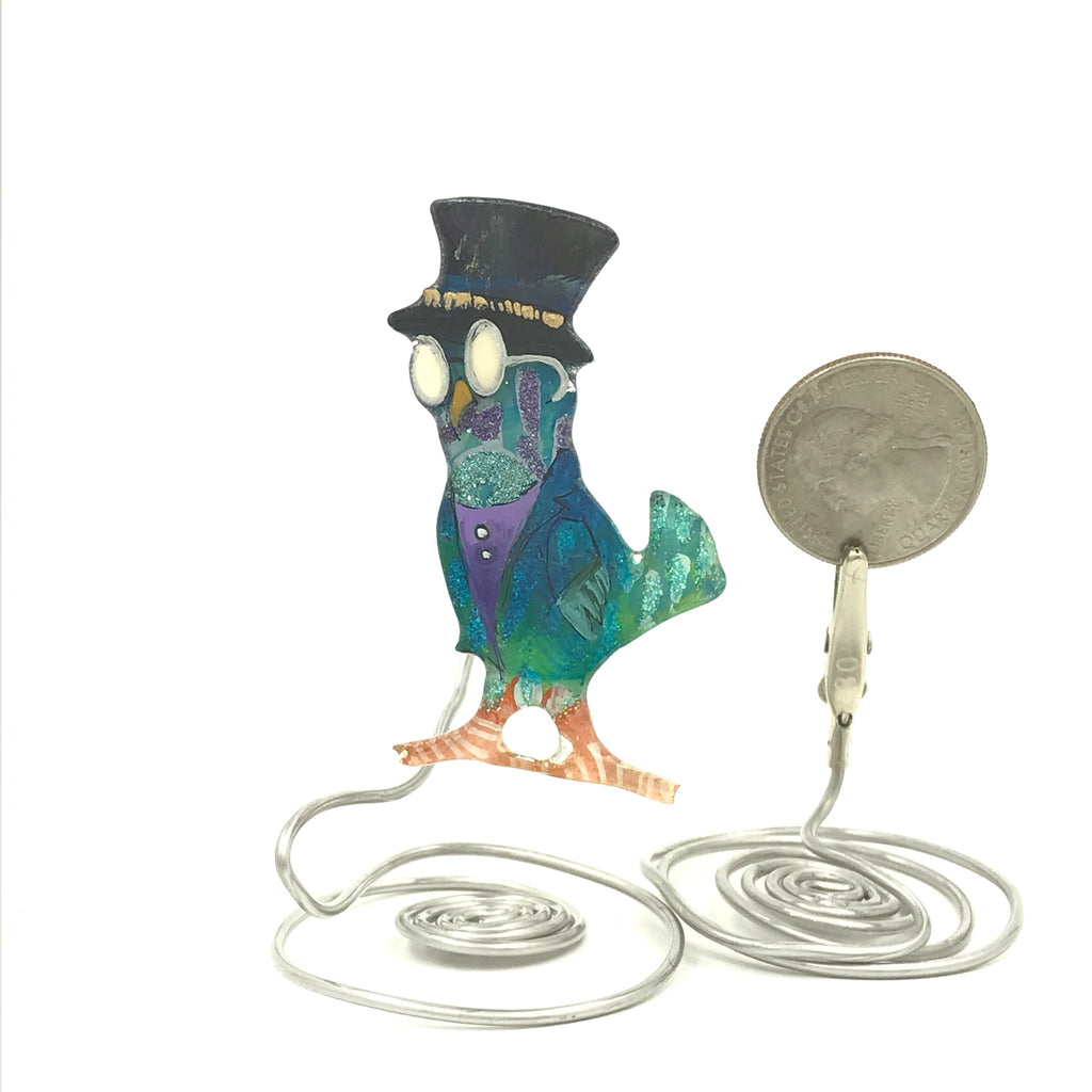 Owl in hat, glasses and suit