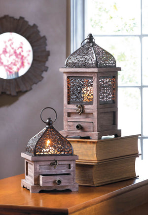 LARGE FLIP-TOP WOODEN LANTERN