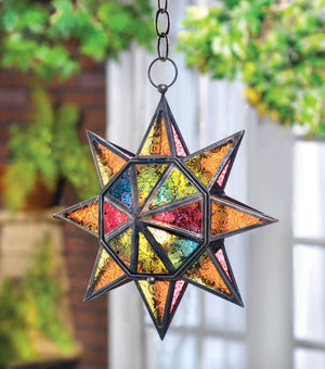 MULTI FACETED COLORFUL STAR LANTERN