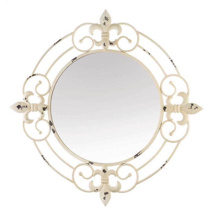 ANTIQUE WHITE FLEUR-DE-LIS WALL MIRROR