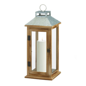GALVANIZED METAL AND WOOD LANTERN