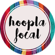 Hoopla Focal logo. Circular logo with embroidery threads in background