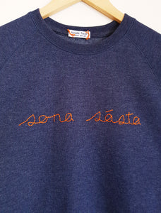 Happy sweatshirt in Irish. Sona sásta. Hand-embroidered by Hoopla Focal in Dublin, Ireland.