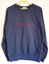 Load image into Gallery viewer, Courage sweatshirt in Irish. Misneach. Hand-embroidered in Dublin, Ireland by Hoopla Focal.