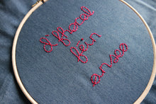 Load image into Gallery viewer, D'fhocal féin anseo. Your text here in Irish. Hand-embroidered on denim tote bag