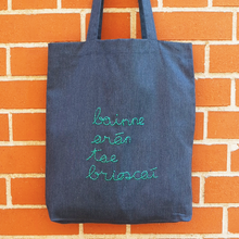 Load image into Gallery viewer, Bainne, arán, tae, brioscaí. Your shopping bag in Irish, as Gaeilge.