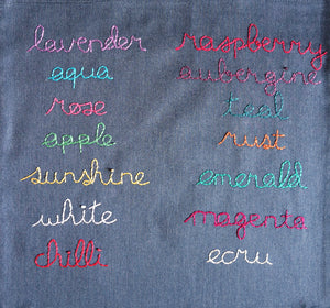 Hand-embroidered thread colour options on Hoopla Focal