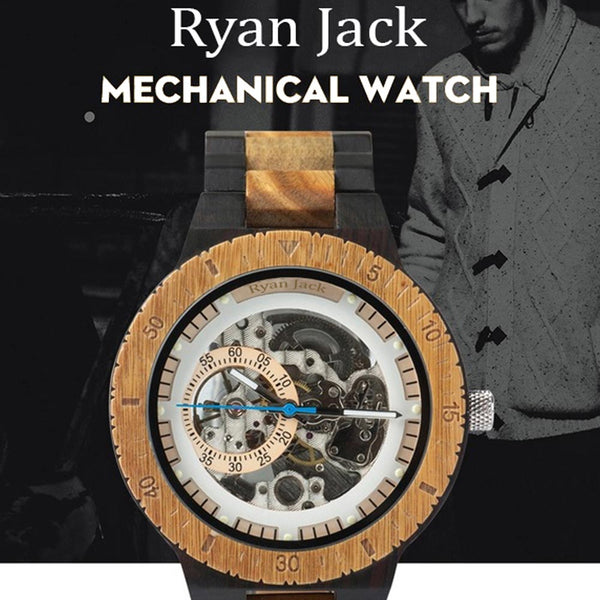 Hunted Mechanical Watch Automatic Wood Winder - Luxury Reloj Wristwatch