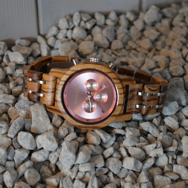 WOMENS CHRONOGRAPH ROSE GOLD WOODEN WRIST WATCH
