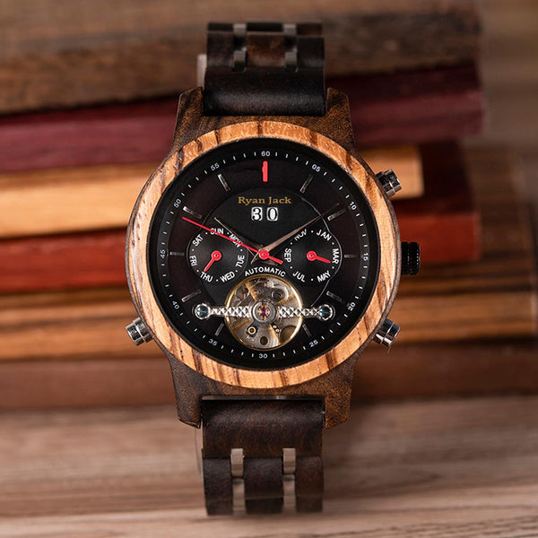 Luxury Wooden Dive Watch Automatic Chronograph Mechanical Wood Wristwatch