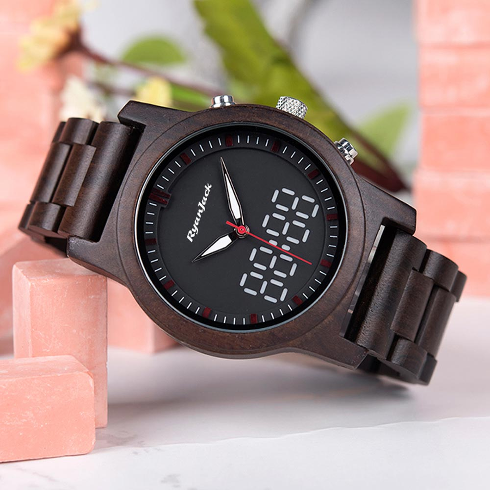 Dual Display Wooden Watch For Men with Both Analogue & Digital Clock Face