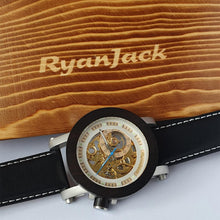 Load image into Gallery viewer, Vintage Automatic Wooden Watch for Men with Elegant Leather Strap - ryanjackcouk