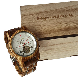 Luxury Wooden Dive Watch Automatic Chronograph Mechanical Wood Wristwatch - Zebra Wood - ryanjackcouk