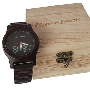 Dual Display Wooden Watch with Both Analogue & Digital Wristwatch - ryanjackcouk