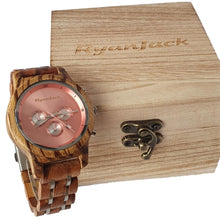 Load image into Gallery viewer, Womens Chronograph Rose Gold Wooden Wrist Watch - ryanjackcouk