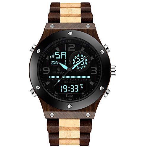 Sandalwood Wooden Watch for Men | Luminous Dual Display Analog Digital Quartz - ryanjackcouk