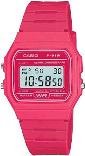 Casio Unisex Watch in Resin/Acrylic Glass LED Light Pink F-91WC-4AEF