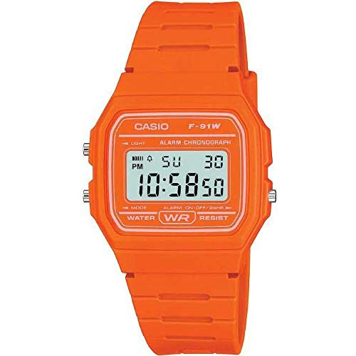 Casio Unisex Watch in Resin/Acrylic Glass LED Light Orange F-91WC-4A2EF