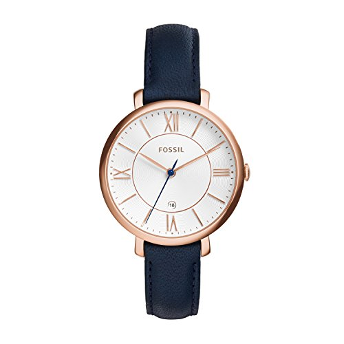 Fossil Women's Analog Quartz Watch with Blue Leather Strap ES3843