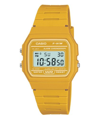 Casio Unisex Watch in Resin/Acrylic Glass LED Light Yellow F-91WC-9AEF