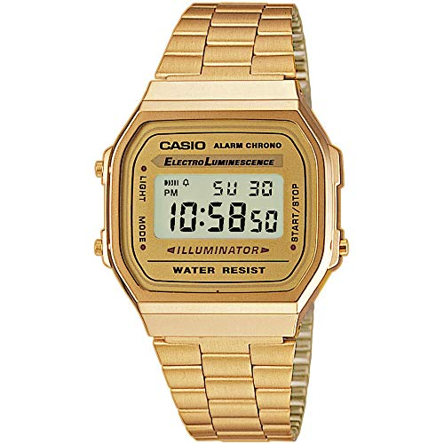 Casio Unisex Digital Gold Watch with Stainless Steel Strap A168WG-9WDF