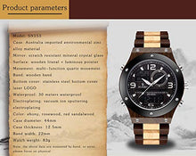 Load image into Gallery viewer, Sandalwood Wooden Watch for Men | Luminous Dual Display Analog Digital Quartz - ryanjackcouk