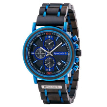 Load image into Gallery viewer, Blue Metal and Wood Japanese Quartz Movement Wrist Watch with Bearings - ryanjackcouk