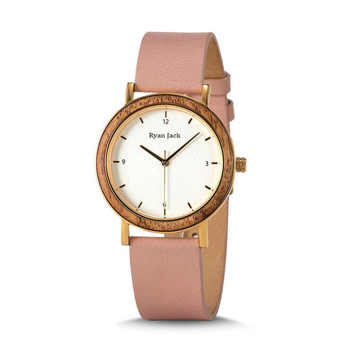 Women's Pink Wood Watch Ladies Fashion watch with leather strap - ryanjackcouk