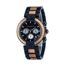 Load image into Gallery viewer, Black Metal and Wood Quartz Fashion Unisex wrist watch - ryanjackcouk