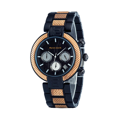 Black Metal and Wood Quartz Fashion Unisex wrist watch - ryanjackcouk