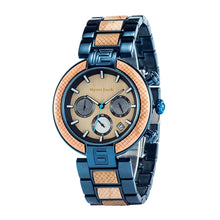 Load image into Gallery viewer, Blue Metal and Wood Quartz Fashion Unisex wrist watch - ryanjackcouk